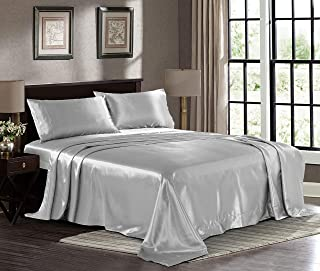Satin Sheets Queen [4-Piece, Grey] Hotel Luxury Silky Bed Sheets – Extra Soft 1800..