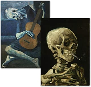 2 Pack – Van Gogh Skeleton & The Old Guitarist by Pablo Picasso Poster Print..