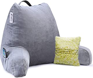 Vekkia Premium Soft Reading & Bed Rest Pillow with Memory Foam, Support Arms,..