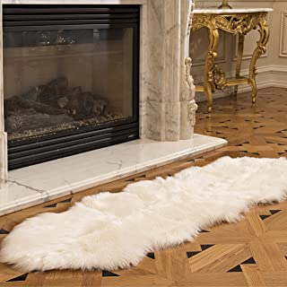 Genteele Luxurious Faux Fur Sheepskin Rug – Super Soft Plush White Faux Australian..