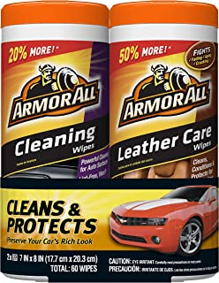 Armor All Car Cleaning and Leather Wipes – Interior Cleaner for Cars & Truck..
