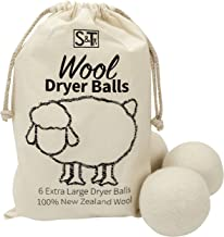 ST 559701 New Zealand Wool Dryer Balls – XL Size – Natural White, 6 Pack