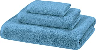 AmazonBasics Quick-Dry, Luxurious, Soft, 100% Cotton Towels, Lake Blue – 3-Piece Set