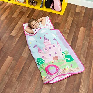 EVERYDAY KIDS Toddler Nap Mat with Removable Pillow -Princess Storyland- Carry Handle..