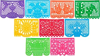 Paper Full of Wishes Festival Mexicano Large Plastic Papel Picado Banner, 9 Multi-Colored..
