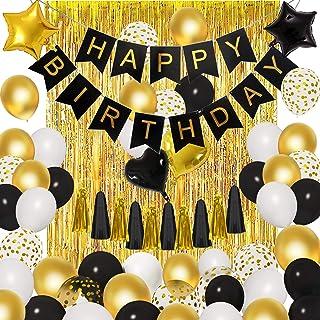 Black Gold Birthday Party Decorations Kit, 18'' 12'' Confetti Foil..
