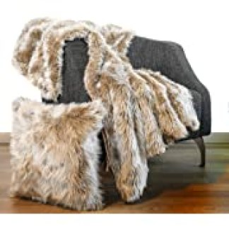 """Luxury Faux Fur Throw Blanket 50""""x60"""" + 1 Pillow case Cover 18""""x18"""" Fox Wolf mid Long Pile, Velvet on Back, Fuzzy Furry Fluffy Set for Couch , Sofa and Bed Scarf, fits Glam, Modern Decor (Beige), Opens in a new tab"""
