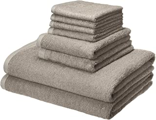 AmazonBasics Quick-Dry, Luxurious, Soft, 100% Cotton Towels, Platinum – 8-Piece Set
