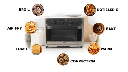 DASH-DAFT2350GBGT01-Chef-Series-7-in-1-Convection-Toaster-Oven-Cooker-Rotisserie-Electric-Air-Fryer-with-Non-stick-Fry-Basket-Baking-Pan-Rack-Skewers-Drip-Tray-Recipe-Book-23L-Graphite