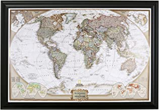Push Pin Travel Maps Personalized Executive World with Black Frame and Pins – 27.5..
