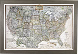 Push Pin Travel Maps Personalized Executive US with Barnwood Gray Frame and Pins –..