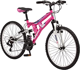 Mongoose Exlipse Full Dual-Suspension Mountain Bike for Kids Featuring 15-Inch Small Steel Frame and 21-Speed Shimano Drivetrain with 24-Inch Wheels Kickstand Included Pink