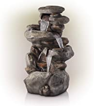 Alpine Corporation 4-Tier Rock Water Fountain with LED Lights – Outdoor Water..