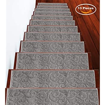 Amazon Com Mohawk Home 4 Piece Vista Stair Tread Set Cabernet   Mohawk Carpet Stair Treads   Mohawk Home   True Bullnose   Stair Railing   Basement Stairs   Non Slip