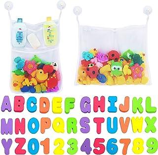 Comfylife 2 x Mesh Bath Toy Organizer + 6 Ultra Strong Hooks + 36 Bath Letters &..