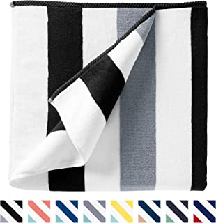 Cabana Beach Towel by Laguna Beach Textile Co, Oversized Black & Gray Summer..