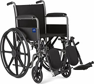 Medline Comfort Driven Wheelchair with Full-length Arms and Elevating Leg Rests for Extra..
