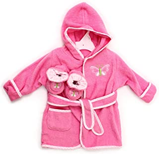 Spasilk 100% Cotton Hooded Terry Bathrobe with Booties—Baby Girl Gifts—Baby Boy..