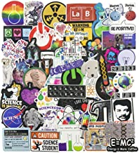 Science Laptop Stickers for Kids, Experiments Decal for Teen, 50pcs Pack Vinyl Skateboard..