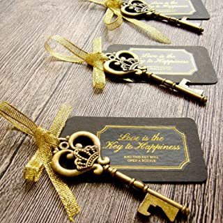 52 Heavy-Duty Metal Large Skeleton Key Bottle Opener Wedding Favor with Tag (Chalkboard..