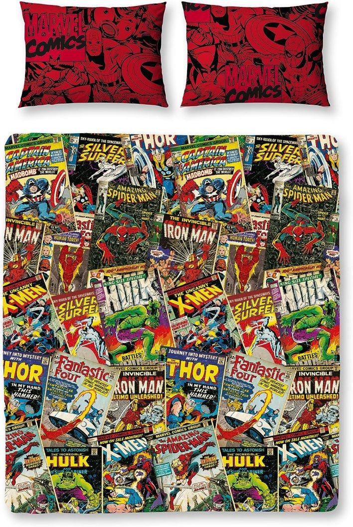 Marvel Character World Disney Comics - Juego de Funda de edredón Doble, Reversible, Multicolor