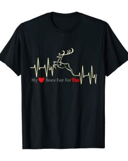 My Heart Beats Fast For You Deer T-Shirt
