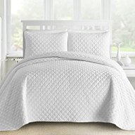Comfy Bedding 3-Piece Bedspread Coverlet Set Oversized and Prewashed Lantern Ogee Quilted, King/Cal King White