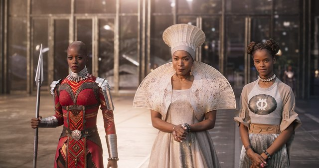 Angela Bassett, Florence Kasumba, and Letitia Wright in Black Panther (2018)