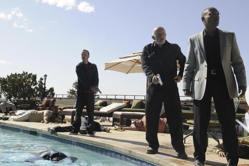 Giancarlo Esposito, Jonathan Banks, and Aaron Paul in Breaking Bad (2008)