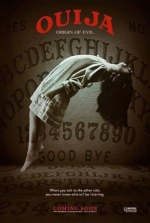 Poster do Filme de Terror - OUIJA - Onde uma adolescente levita de vestido branco