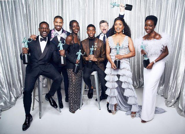 Angela Bassett, Michael B. Jordan, Andy Serkis, Sterling K. Brown, Chadwick Boseman, Danai Gurira, and Lupita Nyong'o at an event for The 25th Annual Screen Actors Guild Awards (2019)