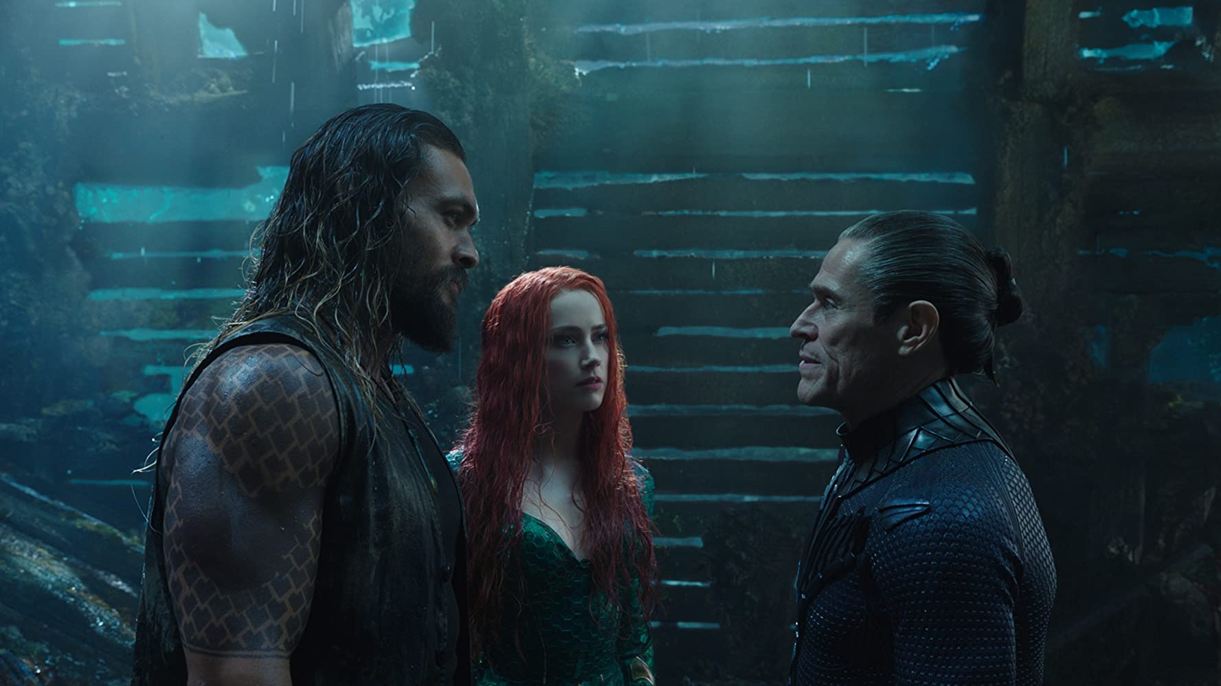 Jason Momoa, Amber Heard, and Willem Dafoe / Aquaman / Warner Bros. Pictures. © 2019. All rights reserved.