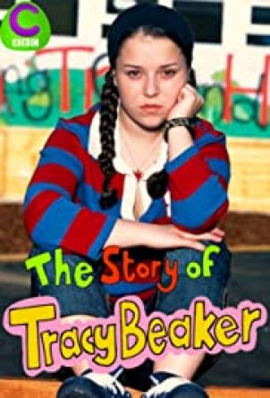 Tracy Beaker wearing a blue and red striped shirt and pigtails in a poster for the Story of Tracy Beaker.
