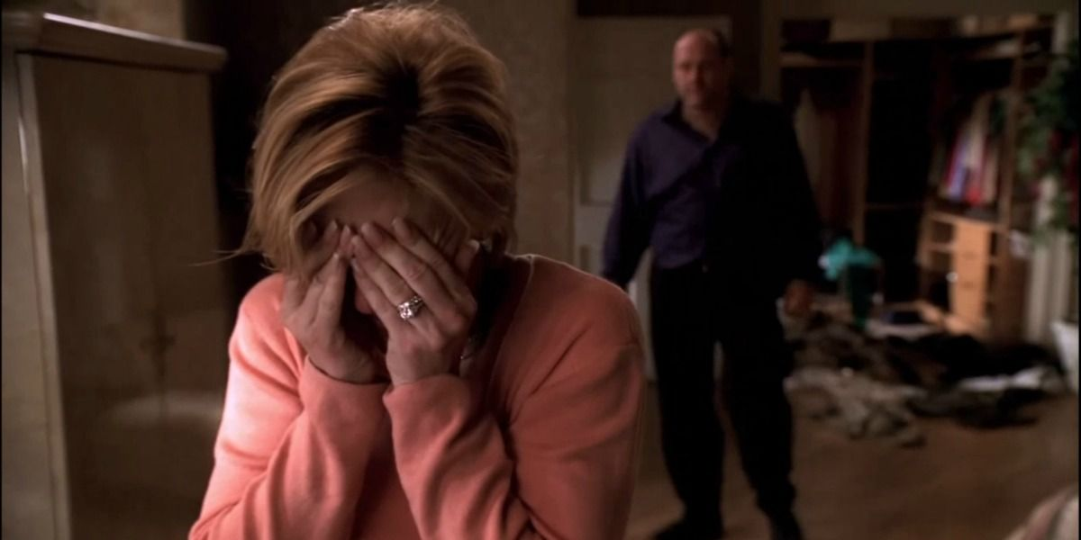carmela soprano is fighting with tony when she finds out he is still cheating on her with other women.