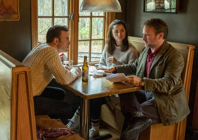 Chris Evans, Rian Johnson, and Ana de Armas in Knives Out (2019)