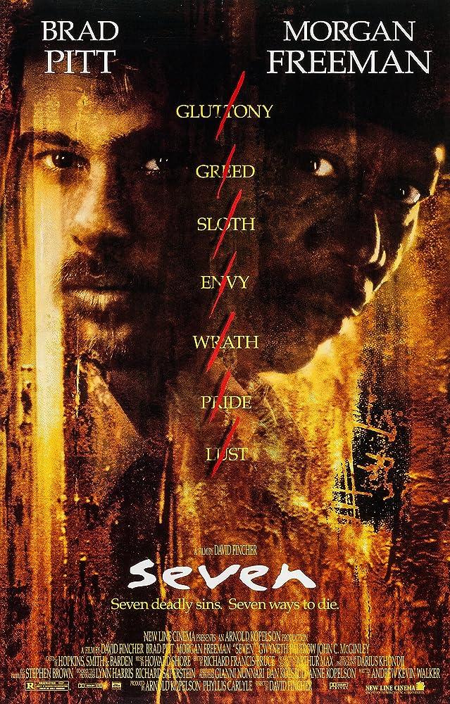Brad Pitt and Morgan Freeman in Se7en (1995)