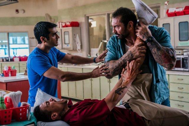 Dave Bautista, Rene Moran, and Kumail Nanjiani in Stuber (2019)