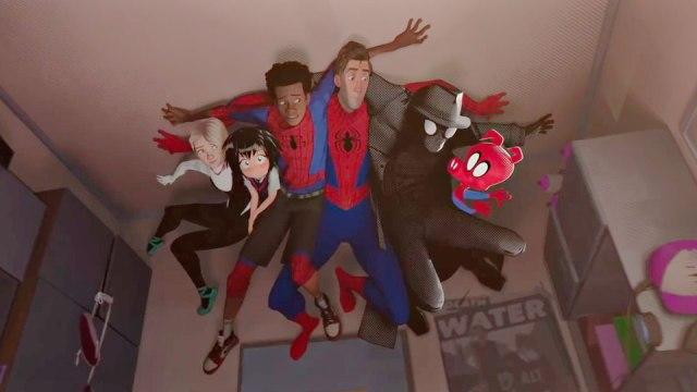 Nicolas Cage, John Mulaney, Jake Johnson, Hailee Steinfeld, Shameik Moore, and Kimiko Glenn in Spider-Man: Into the Spider-Verse (2018)