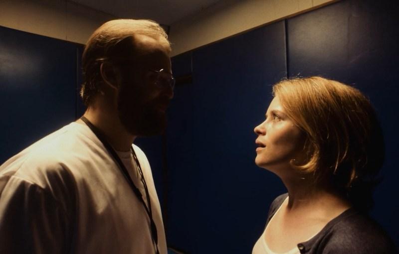 Joshua Leonard and Claire Foy in Unsane (2018)