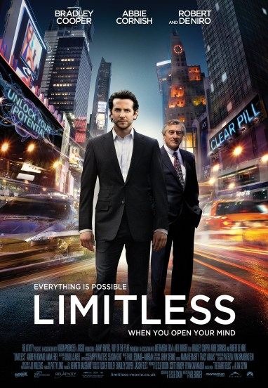 Poster for Limitless featuring Bradley Cooper and Robert DeNiro. This is one of the ultimate top movies every entrepreneur needs to watch.