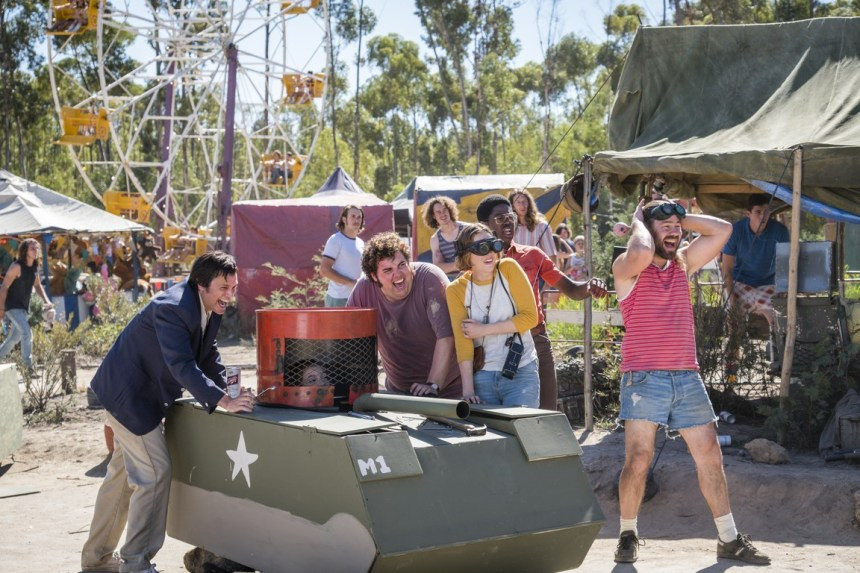 Johnny Knoxville, Chris Pontius, Joshua Hoover, and Brigette Lundy-Paine in Action Point (2018)