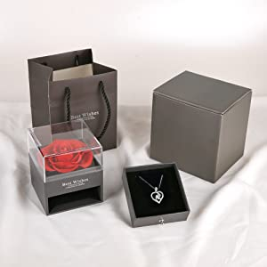 preserved rose, preserved flowers,preserved roses in a box,preserved rose with necklace