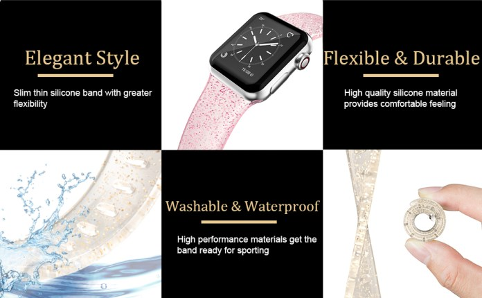 EDIMENS Glitter Silicone Band for Apple Watch 38mm 40mm