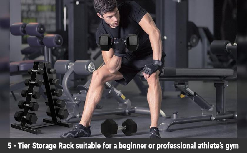 Man using dumbbells in gym