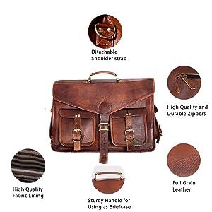 leather messenger bag briefcase satchel handmade vintage