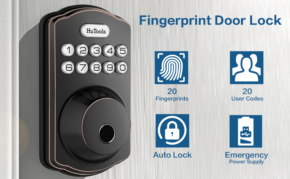 Hutools parmak izi mikro usb şarj portu ile anahtarsız kapı kilidi