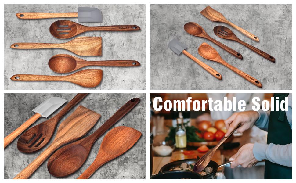spatula turner kitchen spoons wood utensils set for cooking kitchen cooking utensils set wood