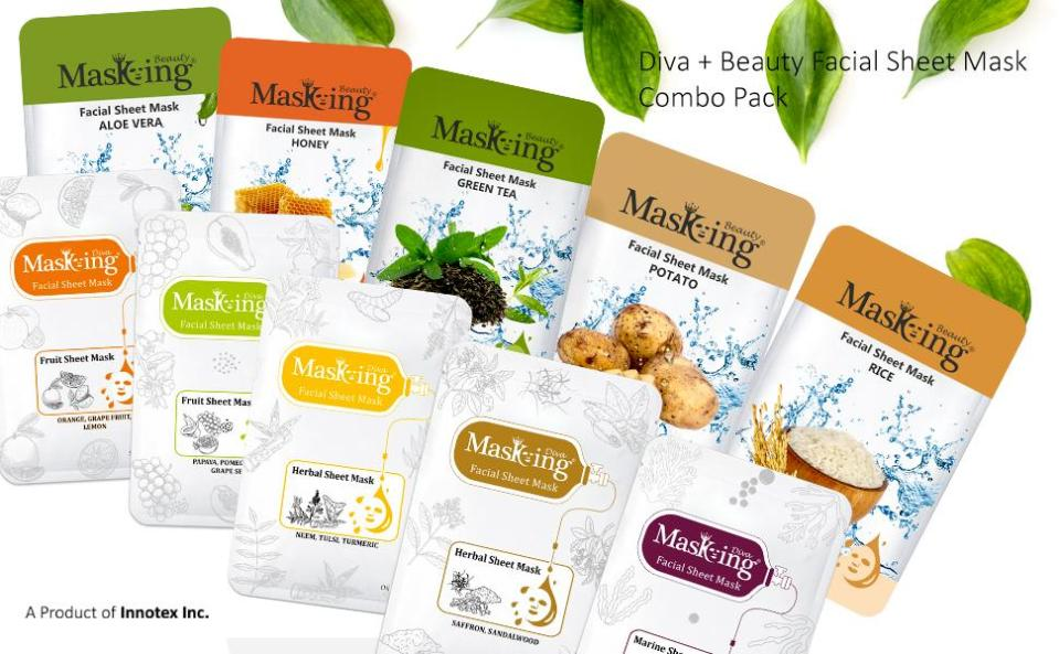 Masking Diva and Beauty Facial sheet Mask for women and men