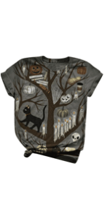 Halloween 3D Animal Print Short Sleeve Tshirt