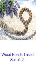 wood beads tassel set of 2